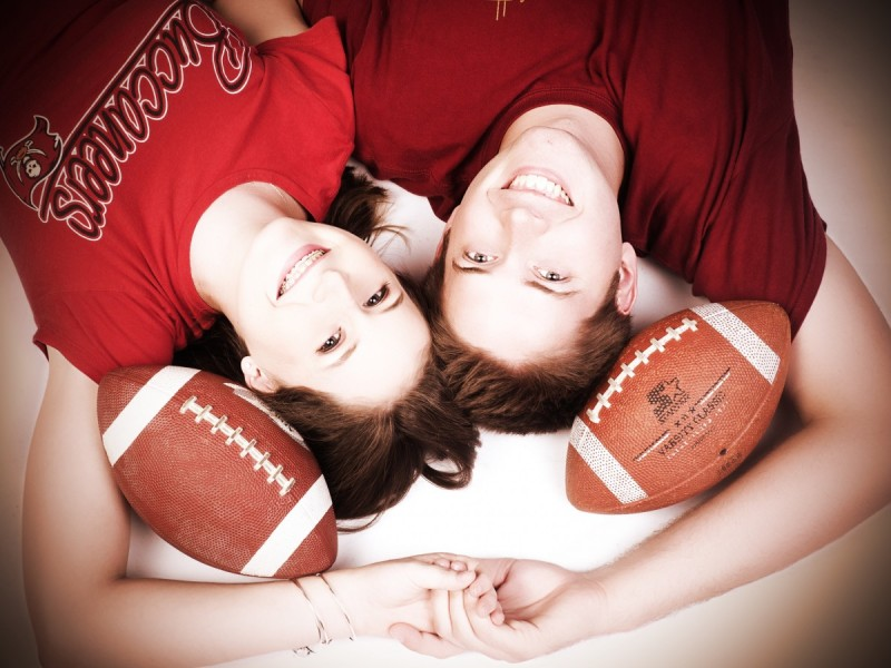 Glamour Shots Football Engagement Photography