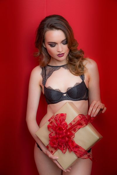 Glamour Shots Red bow Christmas boudoir glamour shots