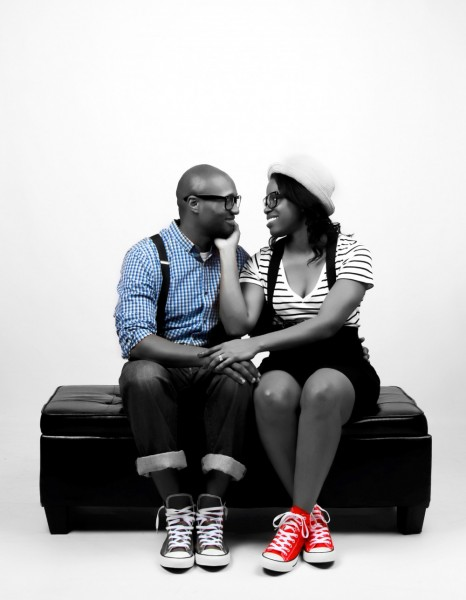 Glamour Shots Engagement portrait with red shoes