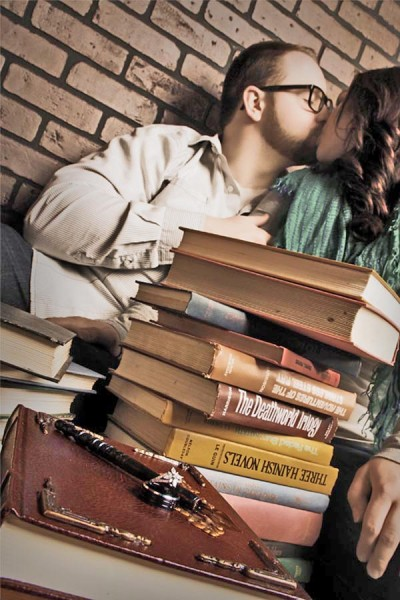 Glamour Shots engagement portrait with books