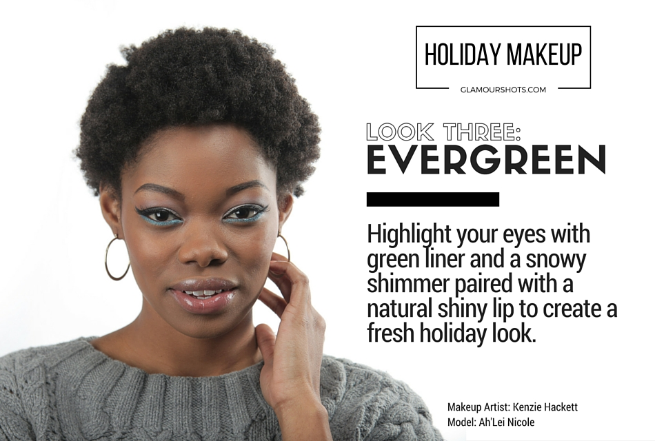Holiday Makeup with Green Eyeliner and Neutral Shiny Lips