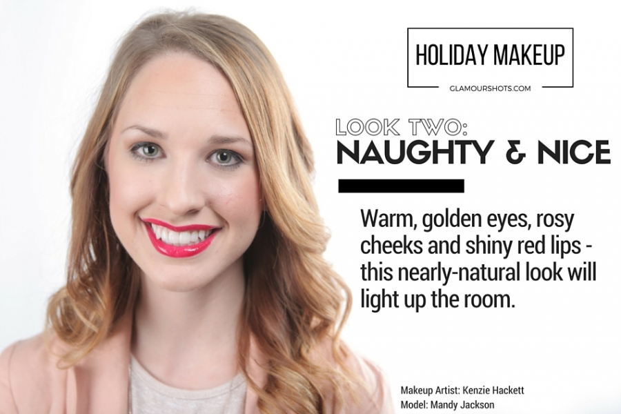 Holiday Makeup with golden eyes and red lips