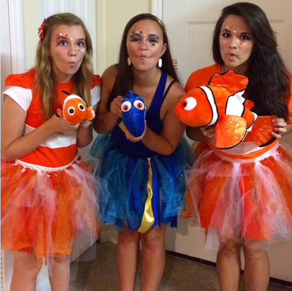 three girls dressed up as marlin, Dory and Nemo from Disney's Finding Dory